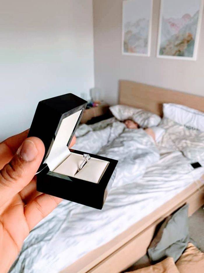 So, How Long Can He Go Without Her Seeing Her Engagement Ring?