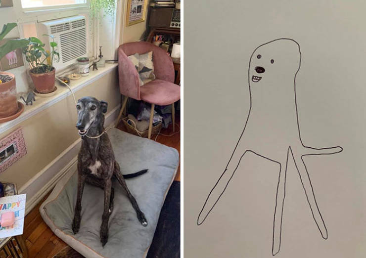 Guy Tries To Draw His Goofy Dog, Becomes A Full-Blown Goofy Pet Artist