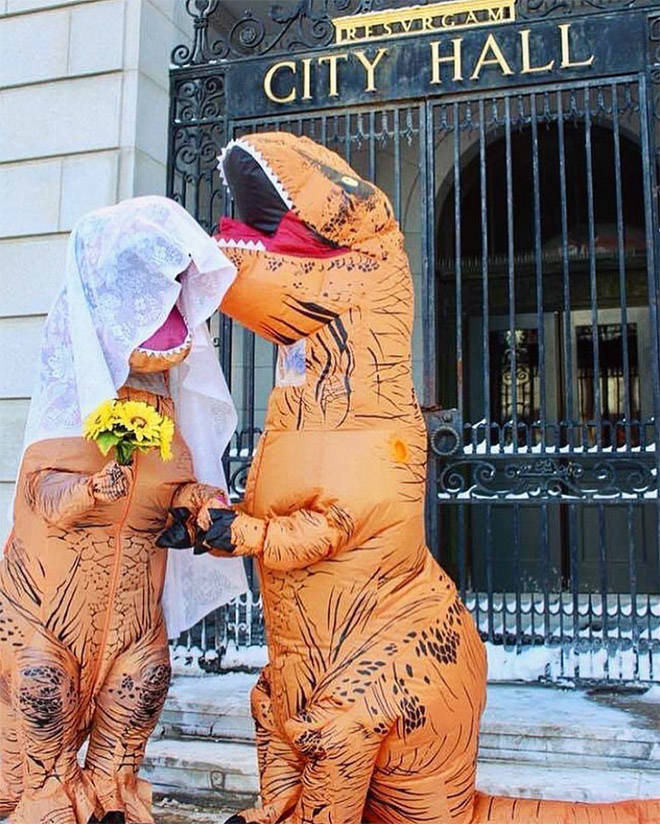 All You Need Is An Inflatable T-Rex Costume