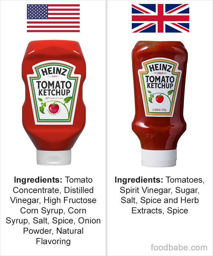 Woman Decided To Compare Ingredient Lists Of Same Foods In The US And UK