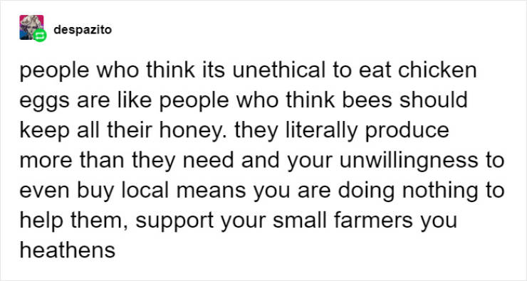 People Try To Tell Vegans About A Way They Could Eat Eggs And Honey