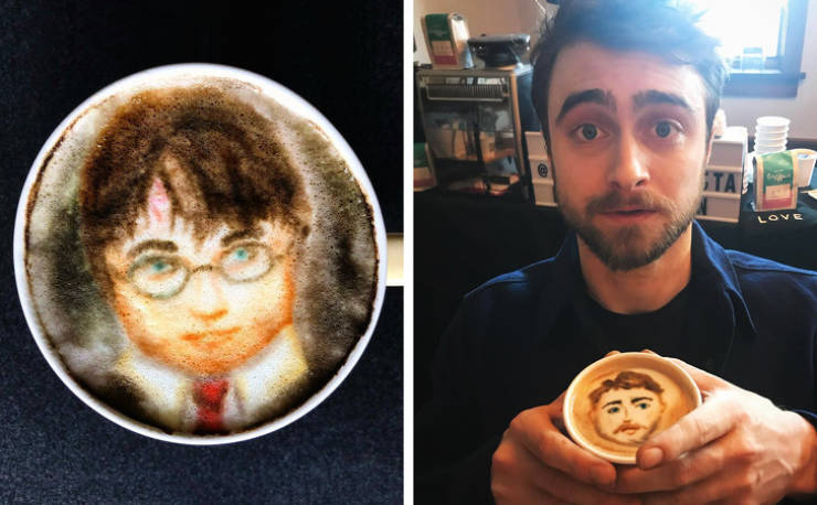 This Barista Creates Celebrity Portraits On Coffee, And Then Shows Them To The Celebs Themselves