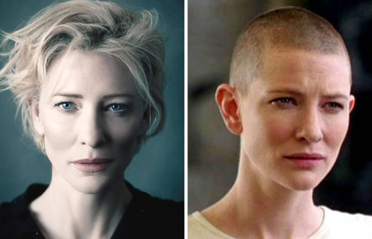Celebs With And Without Their Hair