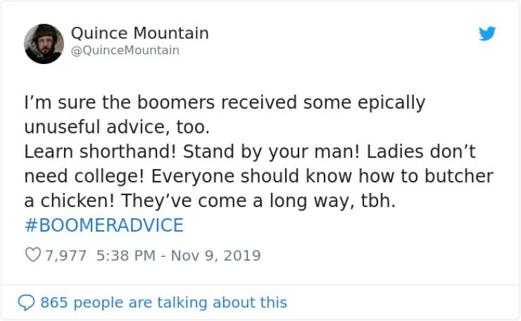 Boomer Advice Can Get Really Out Of Hand