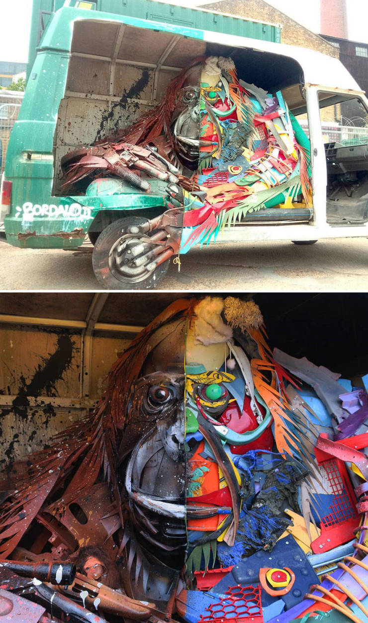 Artist Creates Animal Sculptures Out Of Trash, With A Very Important Message