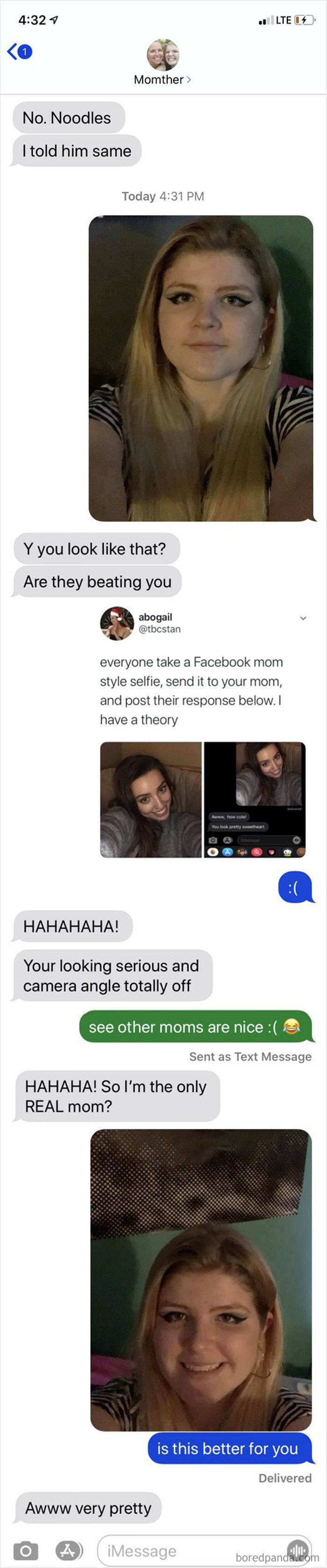Send Your Selfie To Your Mom Without Context And Wait For Her Response
