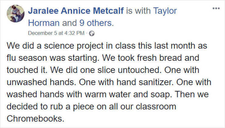 """School """"Moldy Bread"""" Experiment Shows How Important It Is To Wash Your Hands"""