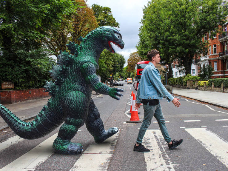 This Toy Godzilla Is Quite A Traveler!