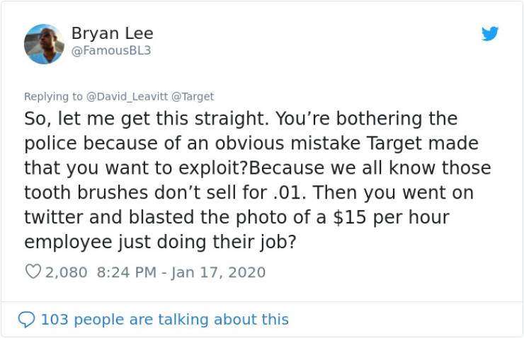 Guy Tries To Sue Target And Shames Random Employee Over A Toothbrush, Internet Turns The Story Around Completely