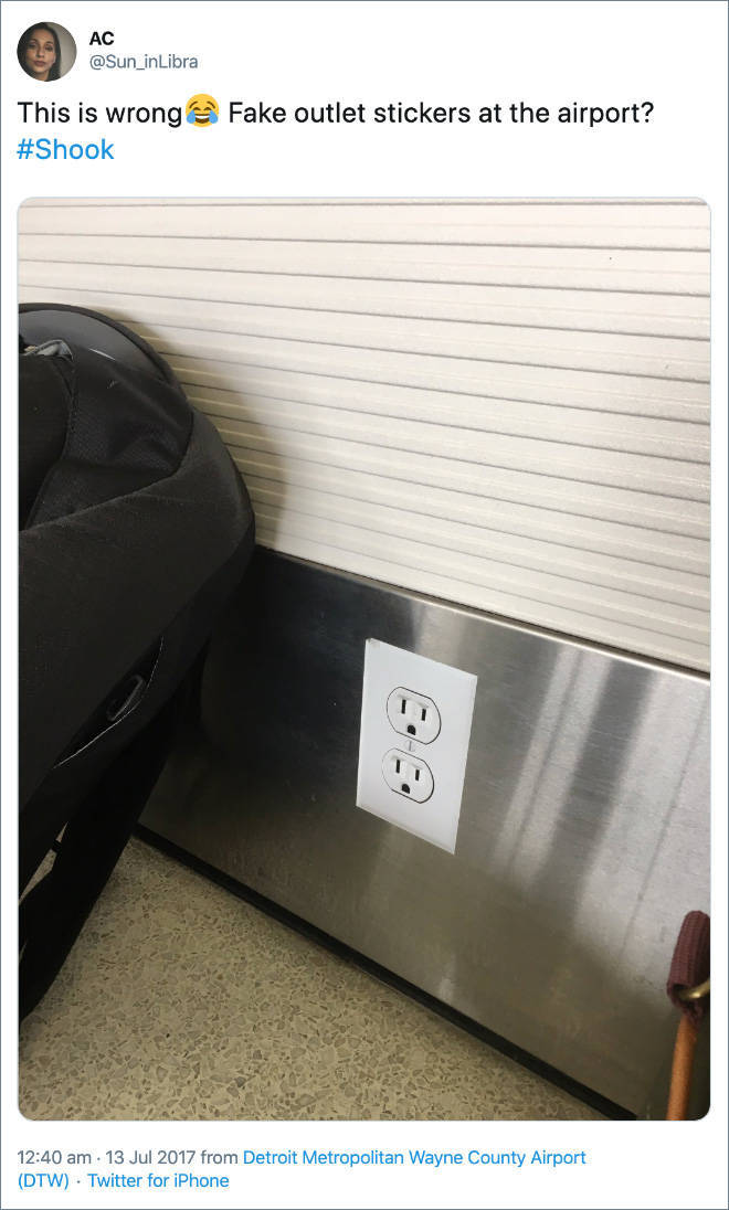 Fake Power Outlets Are A New Airport Prank
