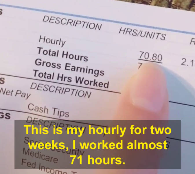 Mom Shares Her Paycheck After Working 70+ Hours As A Bartender