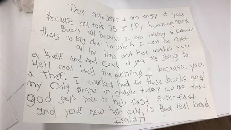 6-Year-Old Writes An Angry Letter To His Teacher After She Disciplines Him