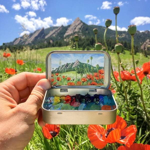 These Mini Plein Air Paintings Are Inside Tin Cans!