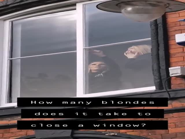 Blondes Closing A Window