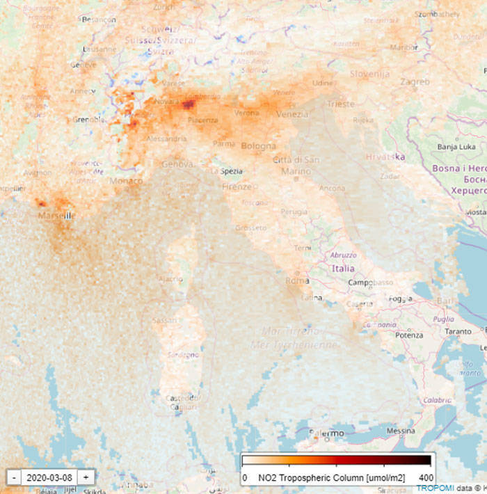 Satellite Shows How Coronavirus Quarantine Affected Air Pollution Over Northern Italy