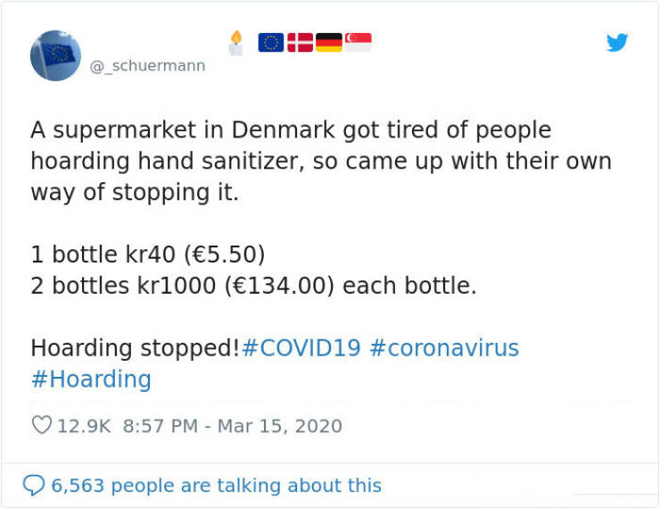 Danish Supermarket Comes Up With A Perfect Pricing Strategy Against Sanitizer Hoarders
