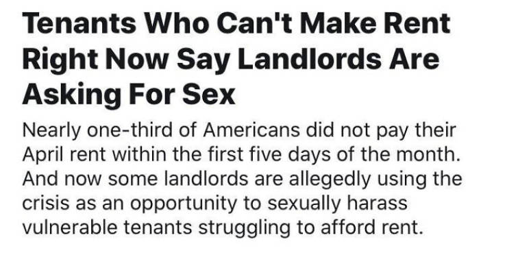 Landlords Who Just Won't Cooperate During Pandemic
