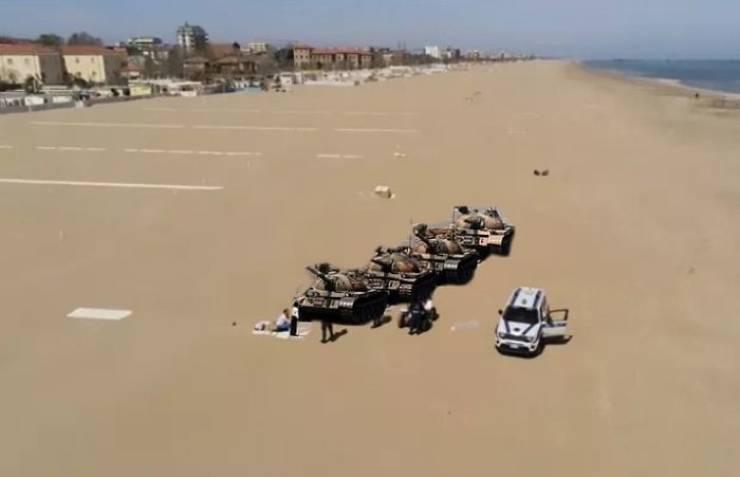 Italian Man On A Quarantined Beach Turns Into A Meme