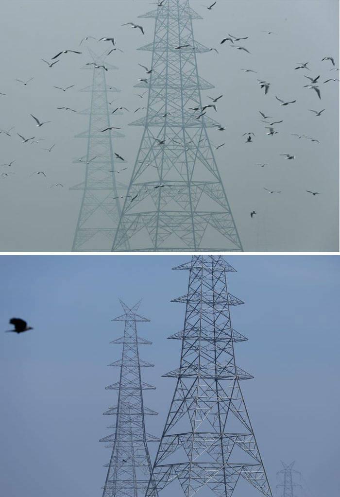 Fotók, amelyek megmutatják, hogy mennyi a karantén segít a szennyezés csökkentésében