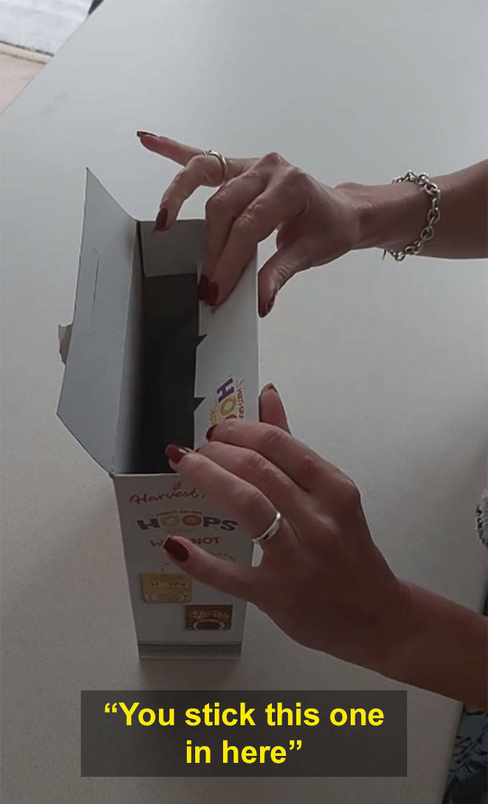 Woman Finds A Curious Way To Close Cereal Boxes