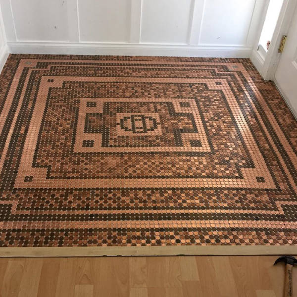 Woman Uses 7,500 Pennies To Create A DIY Mosaic Floor