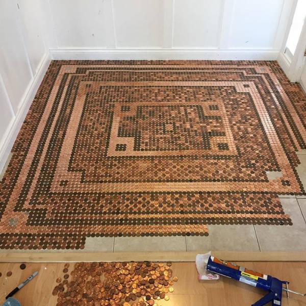 Woman Uses 7,500 Pennies To Create A DIY Mosaic Floor