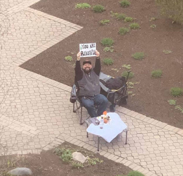 Man Camps Outside The Hospital, Showing His Love For His Wife While She Waits To Give Birth