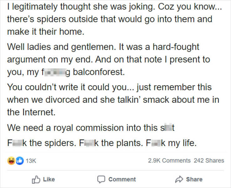 Husband Rants About His Wife's Obsession With Gigantic Plants Inside Their House