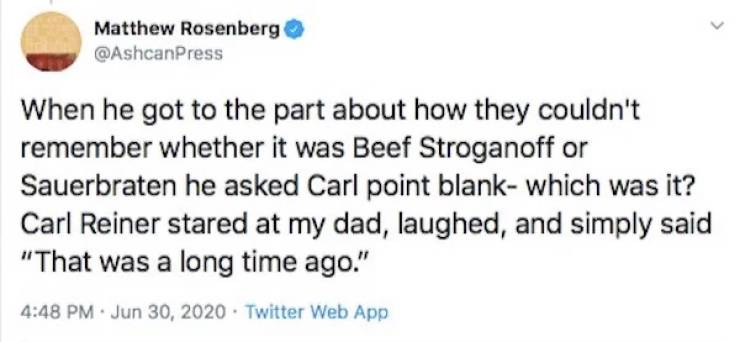 A Story About One Writer's Dad, Carl Reiner And Beef Stroganoff