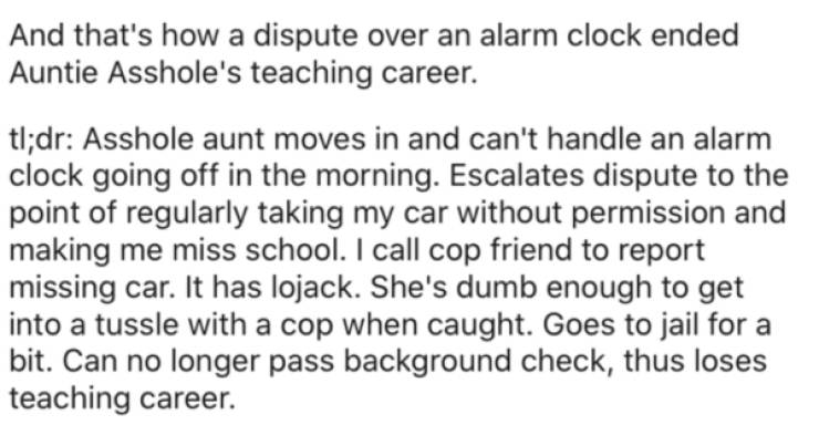 A Story About An Aunt, An Alarm Clock, And Revenge