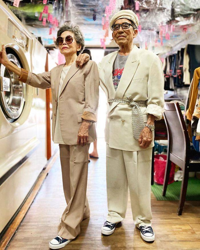 Taiwanese Elderly Couple Poses In Clothes That Clients Didn't Collect From Their Laundry Shop
