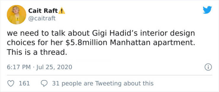 Internet Doesn't Know What To Think Of Gigi Hadid's Self-Designed $5.8M Apartment…