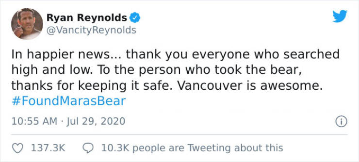 Ryan Reynolds Helps A Random Woman Find Her Stolen Teddy With Her Late Mother's Voice Recording