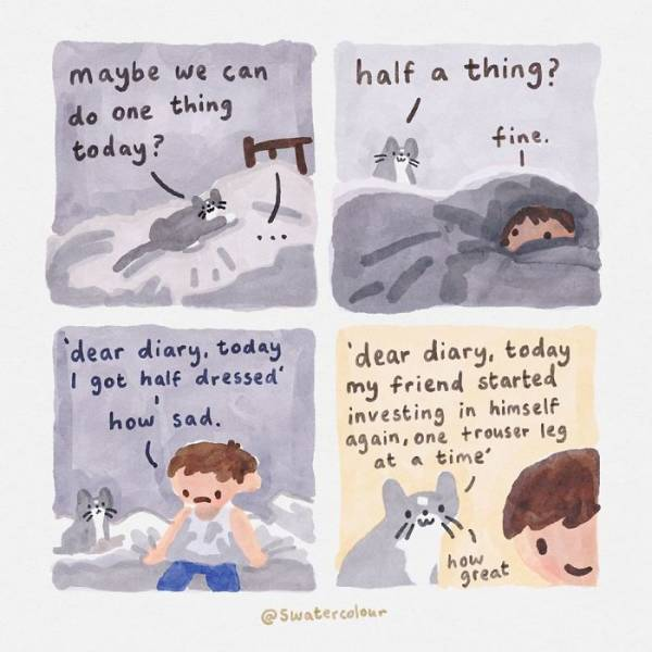 Artist Paints Wholesome Watercolor Cat Giving Mental Health Advice