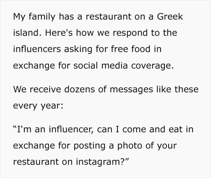 Restaurant Finds The Perfect Way Of Responding To (Beggars) Influencers