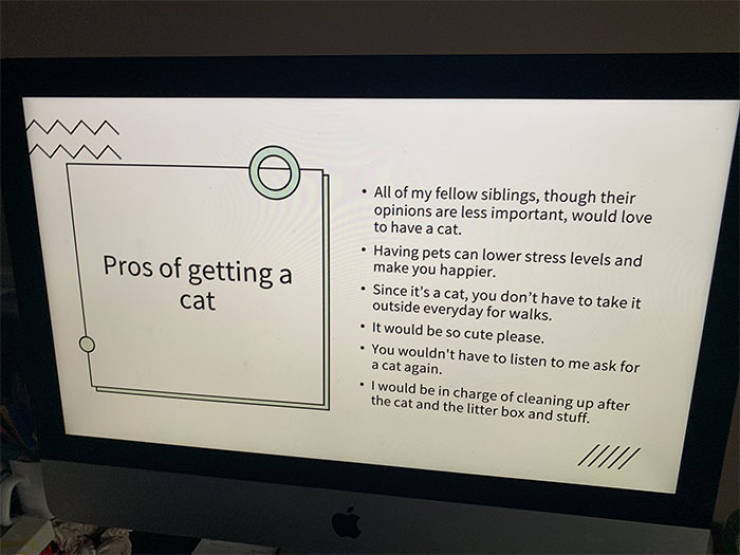 Canadian Girl Tries To Get A Cat From Her Parents, Creates A Viral PowerPoint Presentation