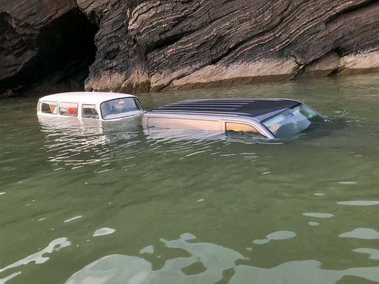Vintage VW Camper Takes A Deep Dive After Getting Stuck On A Beach