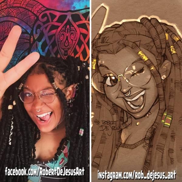 Artist Turns Random Photos Into Cartoon Characters