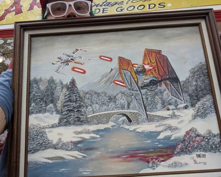 """These Boring Thrift Store Paintings Could Use Some """"Star Wars""""…"""