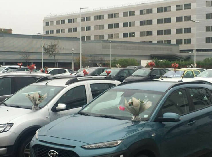 After Being Forced To Throw Away Unsold Flowers, This Florist Placed Bouquets Of Them On Hospital Caregivers' Cars