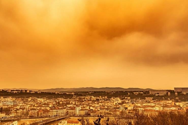 Sand From Sahara Desert Paints European Sky Orange
