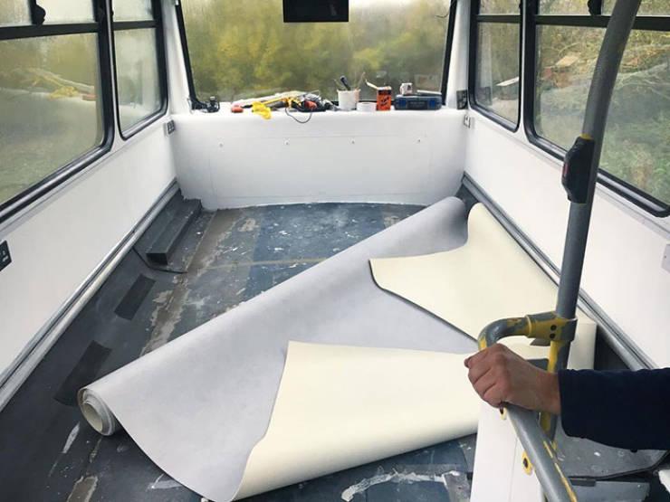 Couple Turns A Double Decker Bus Into A Mobile Home