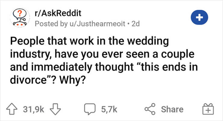 "The Moment Wedding Industry Workers Know, ""This Ends In Divorce"""