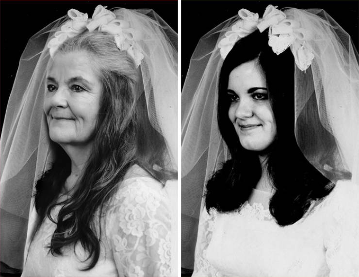 """Couple Shows Their """"Then Vs Now"""" Photo Comparison After 50 Years Of Being Married"""