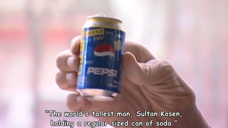 Sultan Kosen is holding a regular-sized Pepsi can.