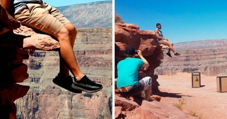 Feet of a man in front of a deep canyon. Second picture: the man sits on a small rock, and another one takes a picture bottom-upwards.