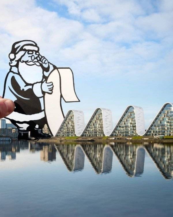 Artist Cleverly Adds Paper Cutouts To Popular Landmarks