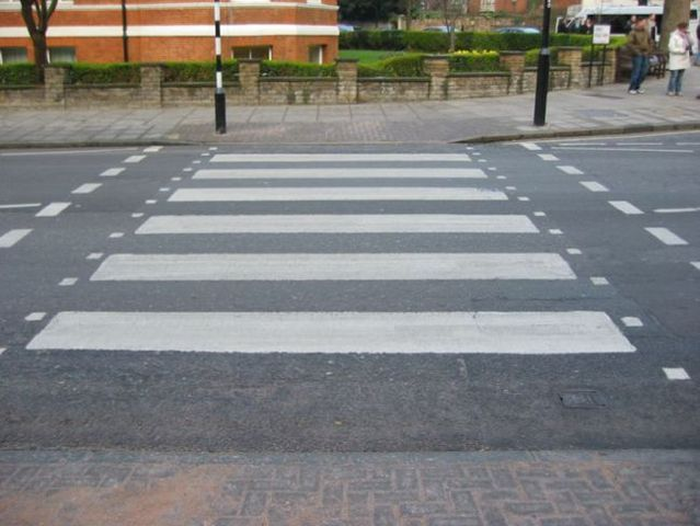 What should you do if you need to paint a pedestrian crossing and you've run out of paint? (2 pics)