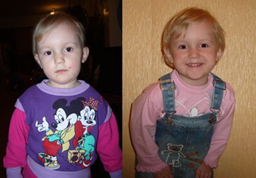 Pictures of children in orphan houses and in their new families (68 pics)