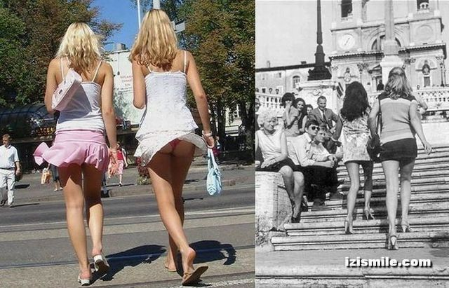 Mini-skirts from the 70's vs modern era (22 pics) - Izismile.com